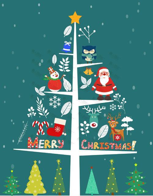 圣诞树创意卡通背景图片