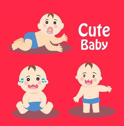 可爱卡通婴儿矢量元素