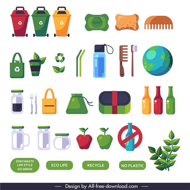垃圾分类环保图标合集