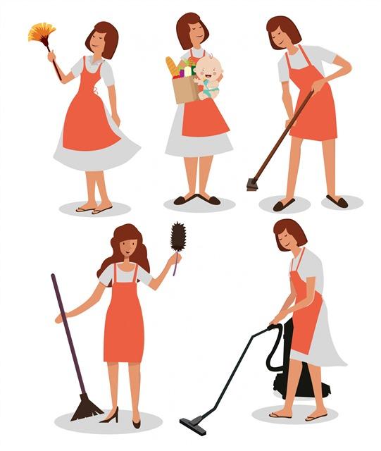 做家务的女人卡通矢量素材