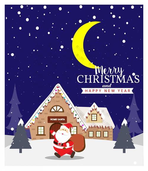 圣诞节贺卡封面手绘