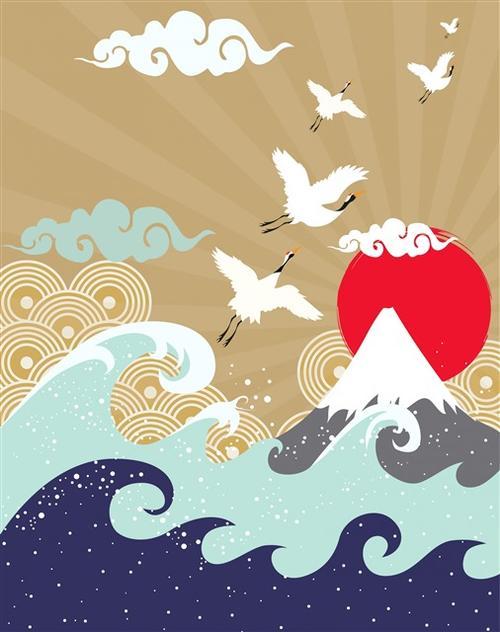 国潮仙鹤海浪矢量图