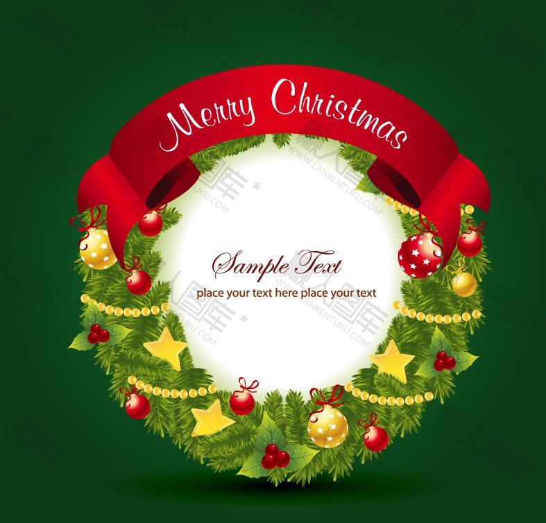 圆形圣诞节花环背景图