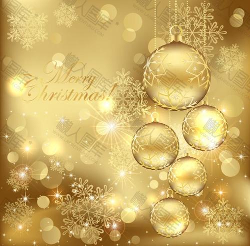 金色圣诞球挂饰背景