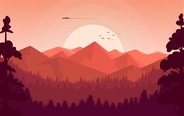唯美夕阳风景插画