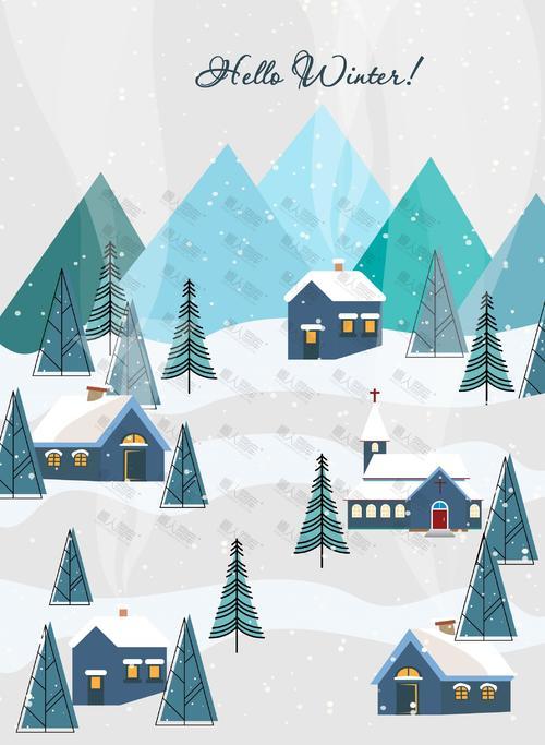 卡通圣诞节冬天插画背景图片