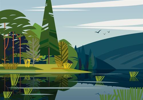 山林湖泊自然风背景图