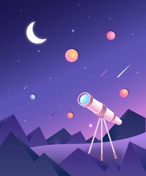 扁平化天文望远镜插画