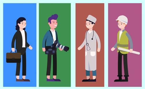 各种职业卡通人物图片