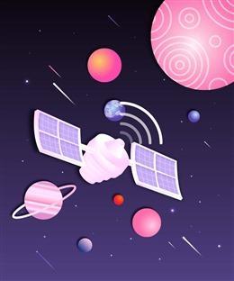 扁平化宇宙星球和卫星矢量图