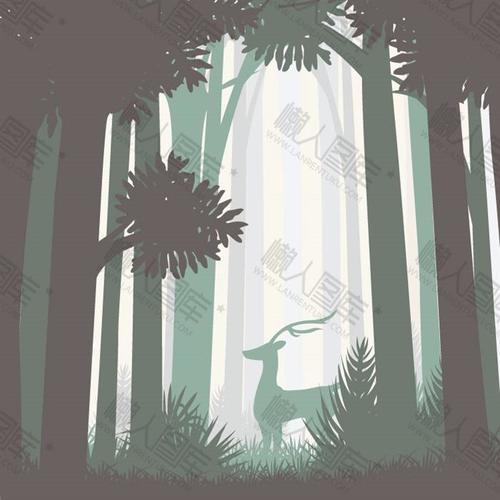 卡通森林麋鹿背景