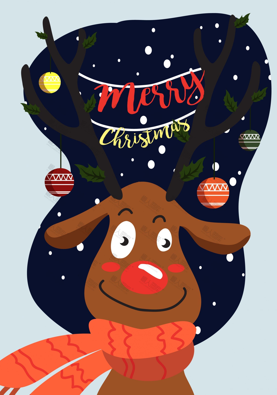 圣诞麋鹿卡通矢量背景图片