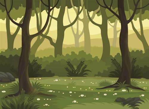 扁平风绿色树木风景插画