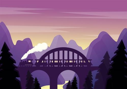紫色山谷插画
