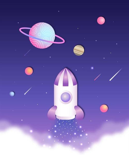 扁平化星球宇宙火箭发射图片