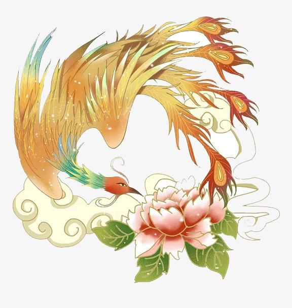 凤凰戏牡丹高清图片