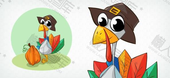 感恩节火鸡贺卡图片