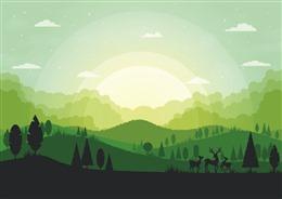 清晨风景插画