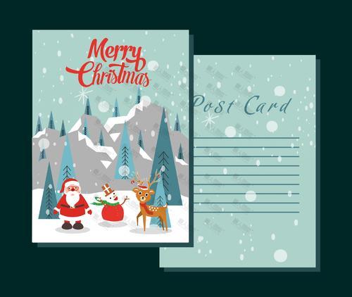圣诞节卡通贺卡信纸图片