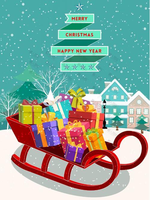 圣诞节雪橇礼物卡通背景图片