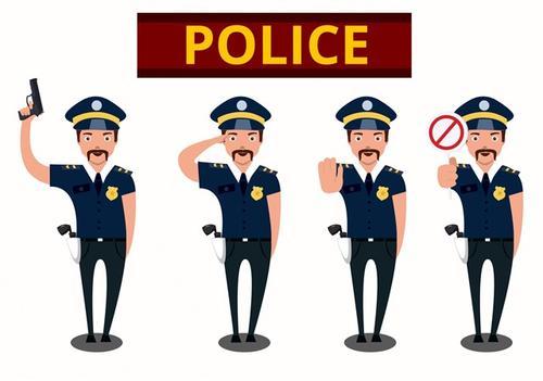 卡通警察人物矢量插画