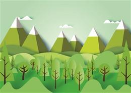 绿水青山风景插画