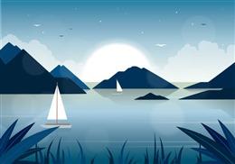 夜晚湖面插画