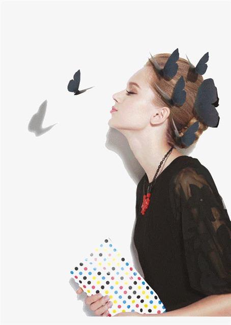 美女和蝴蝶图片