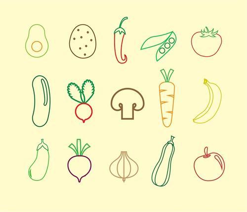 线性水果蔬菜食物图标