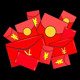 一堆红包卡通素材