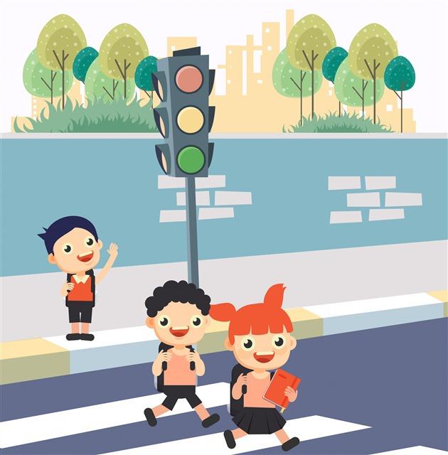 安全过马路交通插画