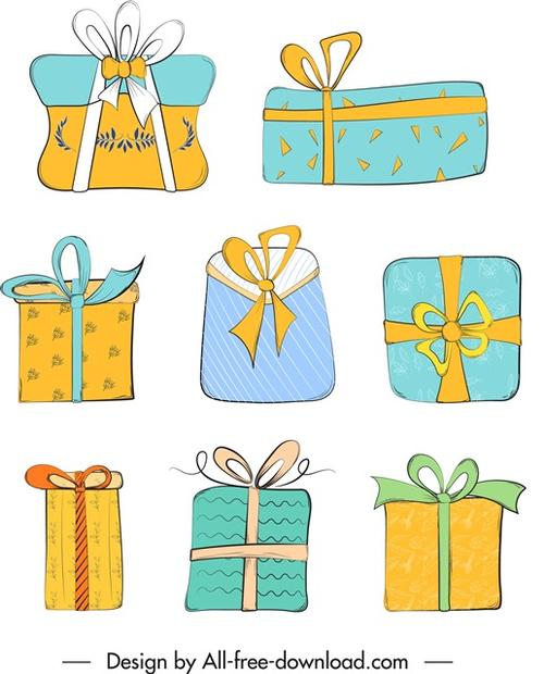 手绘礼盒礼物素材