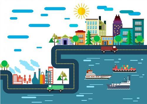 城市码头简笔画