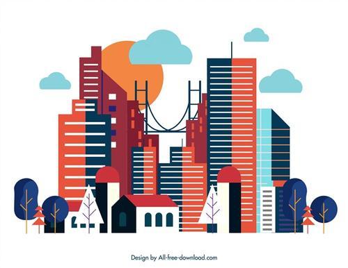 彩色城市建筑剪影