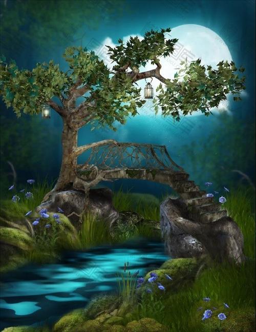 卡通手绘月下深林背景图
