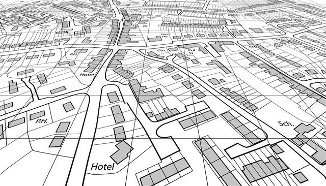 黑白扁平化城市地图