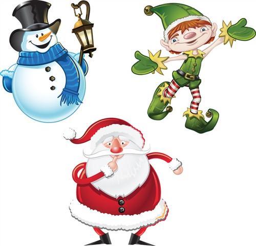 可爱雪人圣诞老人矢量