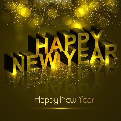 金色新年快乐英文字体