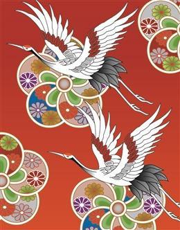 国潮仙鹤花纹背景图