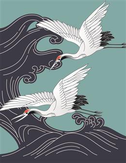 中国风海浪仙鹤背景图