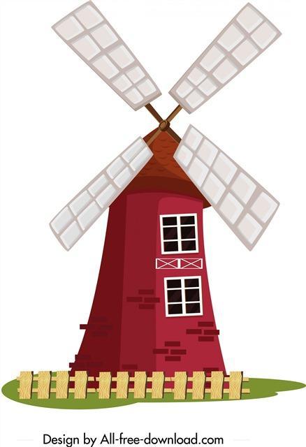荷兰风车矢量图