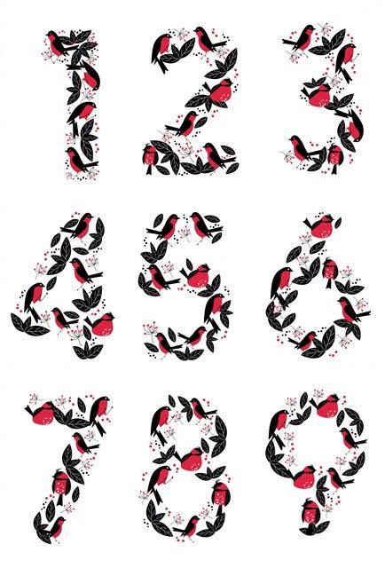 花叶装饰数字艺术字