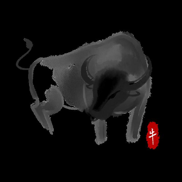 2021牛年日历插画图片