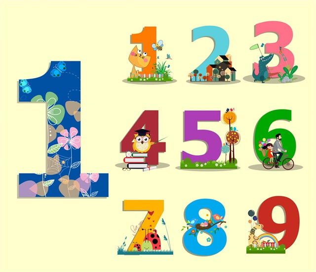 卡通五颜六色数字序列