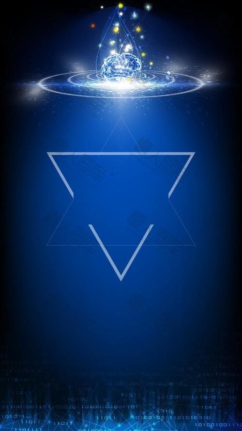 蓝色大气几何科技背景图片