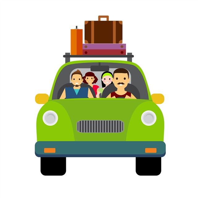汽车自驾游旅行插画