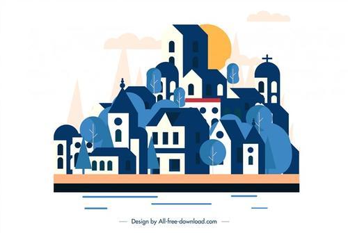 蓝色小镇建筑卡通画