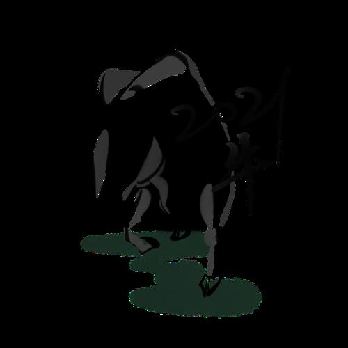 2021牛年国画风插画