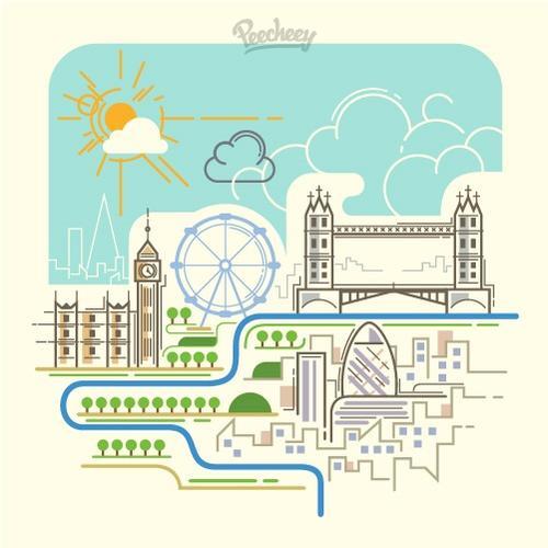 伦敦大桥卡通画