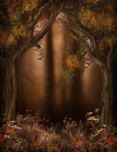 复古森林背景图